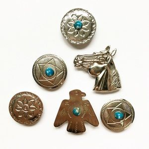 Vintage silver & turquoise Western button covers
